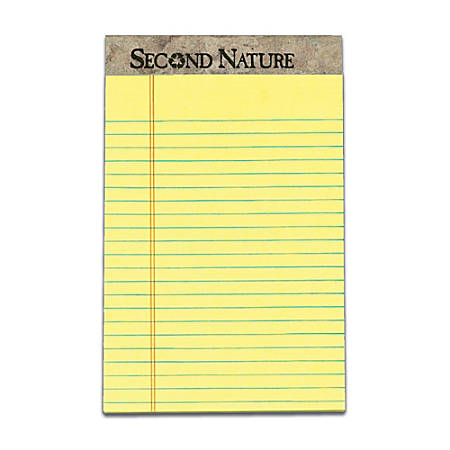 """TOPS™ Second Nature® 100% Recycled Writing Pads, 5"""" x 8"""", Legal Ruled, 50 Sheets, Canary, Pack Of 12 Pads"""