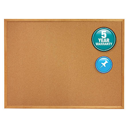 "Quartet® Natural Cork Bulletin Board With Oak Frame, 24"" x 36"""