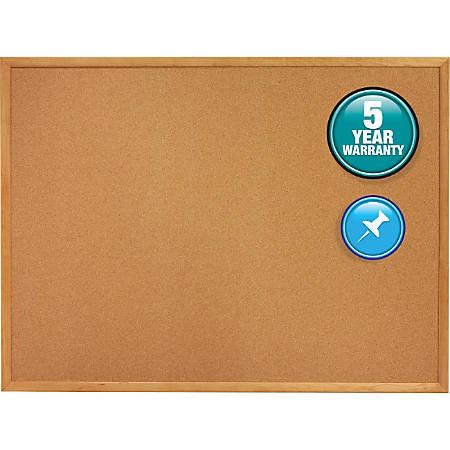 "Quartet® Natural Cork Bulletin Board With Oak Frame, 48"" x 72"""