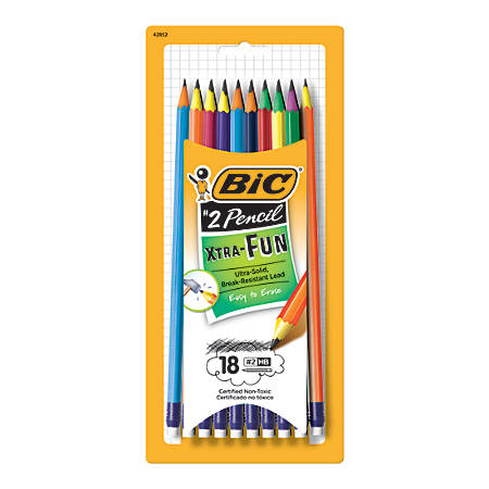 BIC® Xtra Fun Pencils, #2 Lead, Assorted Colors, Pack Of 18