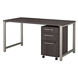 "Bush Business Furniture 400 Series Table Desk with 3 Drawer Mobile File Cabinet, 60""W x 30""D, Storm Gray, Premium Installation"