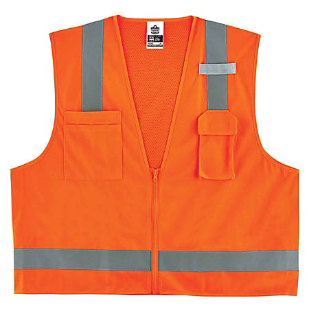 Ergodyne GloWear® Safety Vest, Economy Surveyor's 8249Z, Type R Class 2, Small/Medium, Orange