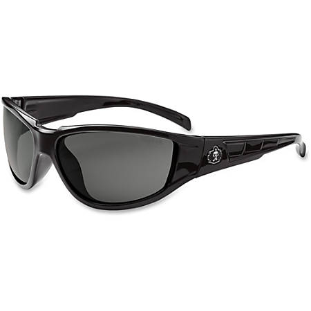 Ergodyne Njord Smoke Lens Safety Glasses - Durable, Flexible, Scratch Resistant - Ultraviolet Protection - Polycarbonate Lens, Nylon Frame, Polycarbonate Temple - Black - 1 Each