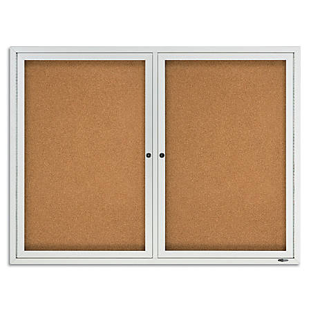 "Quartet® Anodized Aluminum Frame Enclosed Bulletin Board, 36""H x 48""W, 2 Doors"