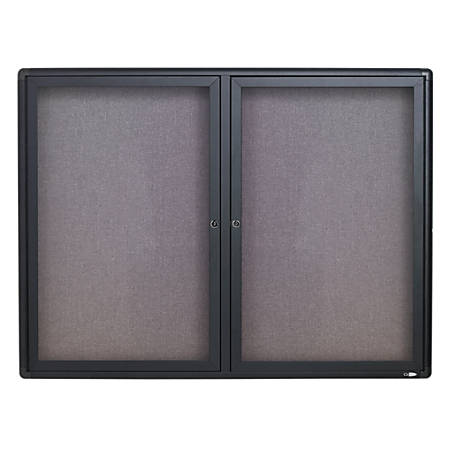 "Quartet® Swinging Door Fabric Bulletin Board, 36""H x 48""W, 2 Doors"