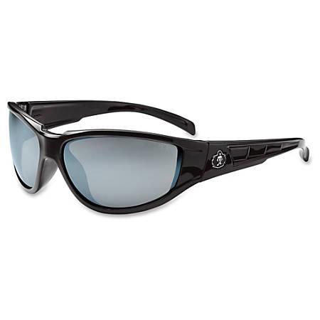Ergodyne Njord Silver Mirror Lens Safety Glasses - Durable, Flexible, Scratch Resistant - Ultraviolet Protection - Polycarbonate Lens, Nylon Frame, Polycarbonate Temple - Black, Silver Mirror - 1 Each