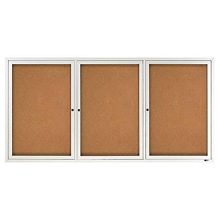 "Quartet® Anodized Aluminum Frame Enclosed Bulletin Board, 36""H x 72""W, 3 Doors"