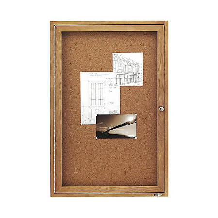 "Quartet® Solid Oak Frame Enclosed Bulletin Board, 36""H x 24""W, 1 Door"