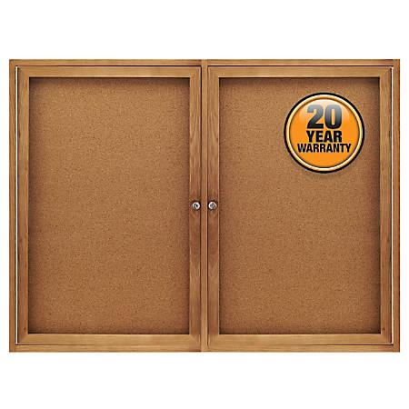 "Quartet® Solid Oak Frame Enclosed Bulletin Board, 36""H x 48""W, 2 Doors"