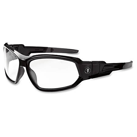 Ergodyne Skullerz Loki Clear Lens Safety Glasses - Durable, Flexible, Scratch Resistant, Anti-fog, Non-slip, Perspiration Resistant, Convertible, Comfortable, Elastic Strap - Ultraviolet Protection - Polycarbonate Lens, Nylon Frame, Polycarbonate Temple, Foam Gasket - Black - 1 Each