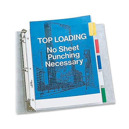 """C-Line® Top-Loading Sheet Protectors With Tab Inserts, 8 1/2"""" x 11"""", 5-Tab, Assorted Colors"""