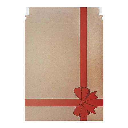 """Office Depot® Brand Gift Print Flat Mailers, 9 3/4"""" x 12 1/4"""", 100% Recycled, Kraft/Red, Pack Of 25 Mailers"""