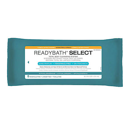 """ReadyBath SELECT Medium-Weight Cleansing Washcloths, Antibacterial, Unscented, 8"""" x 8"""", White, 8 Washcloths Per Pack, Case Of 30 packs"""