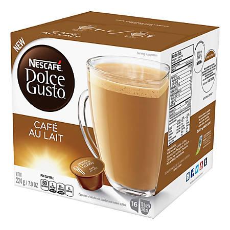 Nescafe Dolce Gusto Cafe Au Lait Single-Serve Coffee Pods, Carton Of 16