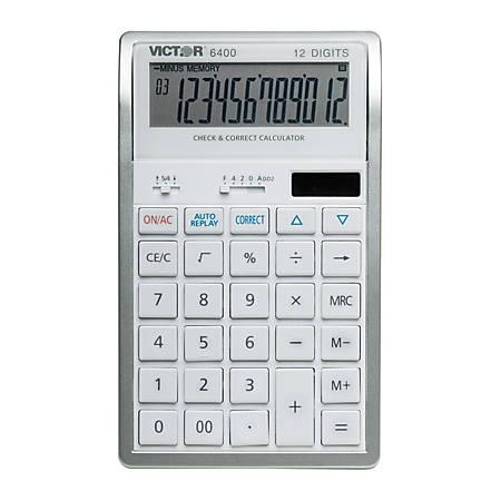 Victor® 6400 12-Digit Desktop Calculator, White/Silver