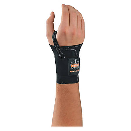 Ergodyne ProFlex 4000 Single-Strap Wrist Support - Left-handed - Washable, Hook & Loop Closure - Black