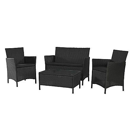 Cosco® Jamaica 4-Piece Wicker Conversation Set, Black