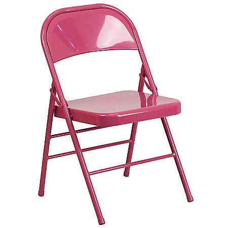 Flash Furniture HERCULES COLORBURST Metal Triple-Braced Folding Chair, Shockingly Fuchsia