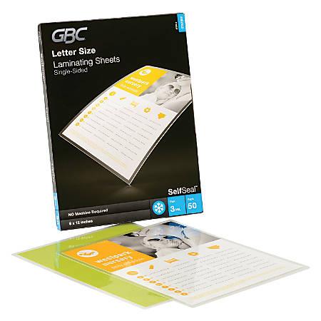 "GBC® SelfSeal™ Laminating Sheets, Single Sided, 3 Mils, Letter, 9"" x 12"", Glossy, Pack Of 50"