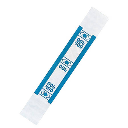 PM™ Company Currency Bands, $100.00, Blue, Pack Of 1,000