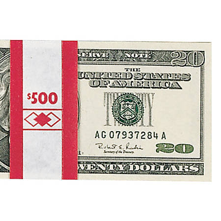 PM™ Company Currency Bands, $500.00, Red, Pack Of 1,000