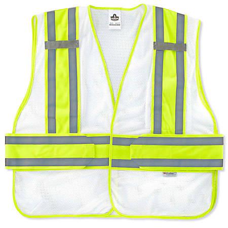 Ergodyne GloWear Safety Vest, 2-Tone Expandable, Medium/Large, White, 8240HL-NC