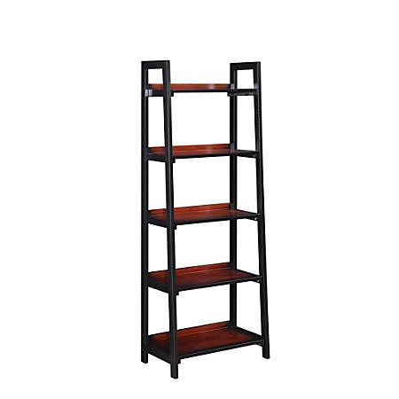 Linon Monroe Bookcase, 5 Shelves, Black Cherry