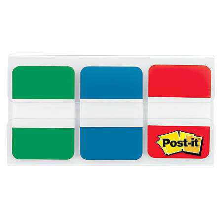 "Post-it® Durable Solid Index Filing Tabs, 1"" x 1 1/2"", Assorted Colors, 22 Flags Per Pad, Pack Of 3 Pads"