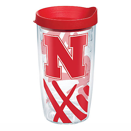 Tervis Genuine NCAA Tumbler With Lid, Nebraska Cornhuskers, 16 Oz, Clear