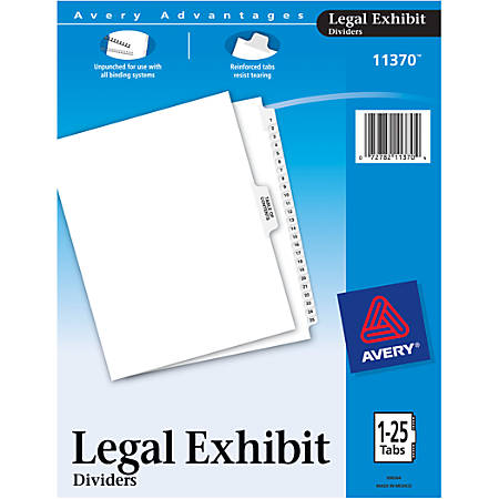 "Avery® 20% Recycled Avery-Style Premium Collated Legal Index Exhibit Dividers, Side-Tab, 1-25, 8 1/2"" x 11"""