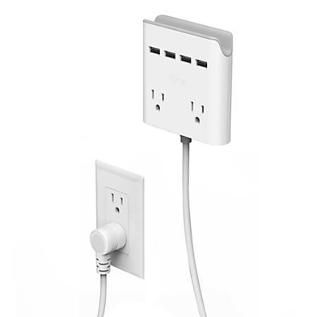 iHome Power Reach 2-Outlet Multiport Solution, 10', White, IH-CT644W