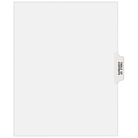"""Avery® Avery-Style Collated Legal Index Exhibit Dividers, 8 1/2"""" x 11"""", White Dividers/White Tabs, Table Of Contents, Pack Of 25"""