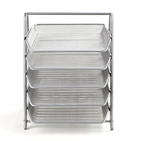Mind Reader Steel Mesh Paper Tray Desk Organizer, 4 Tiers, Silver