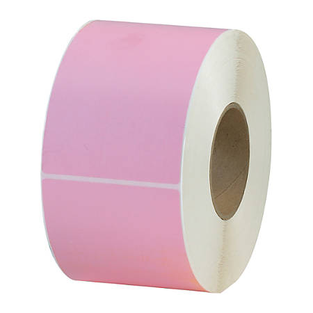 """Office Depot® Brand Colored Rectangle Thermal Transfer Labels, THL130PK, 4"""" x 6"""", Pink, 1,000 Labels Per Roll, Pack Of 4 Rolls"""