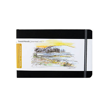 """Hand Book Journal Co. Travelogue Drawing Journals, Landscape, 5 1/2"""" x 8 1/4"""", 128 Pages, Ivory Black, Pack Of 2"""