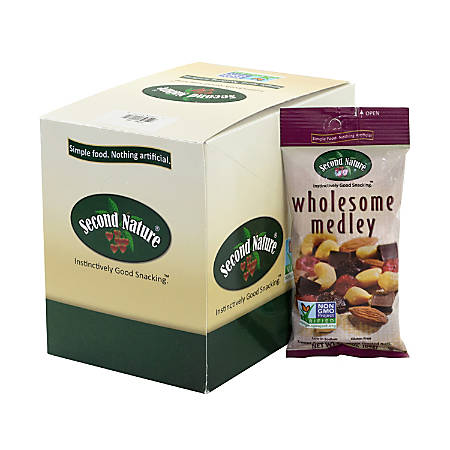 Second Nature Wholesome Medley Mixed Nut Bags, 2.25 Oz, Pack Of 12 Bags