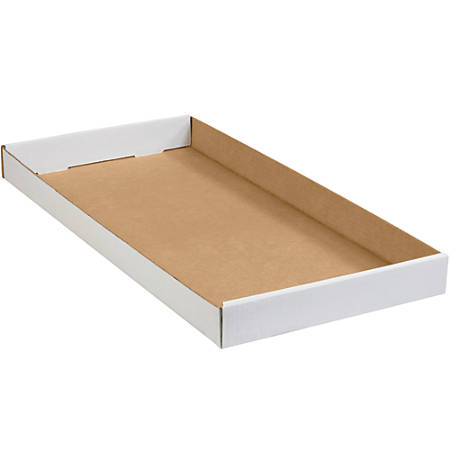 """Office Depot® Brand Corrugated Trays, 1 3/4""""H x 12""""W x 24""""D, White, Pack Of 50"""