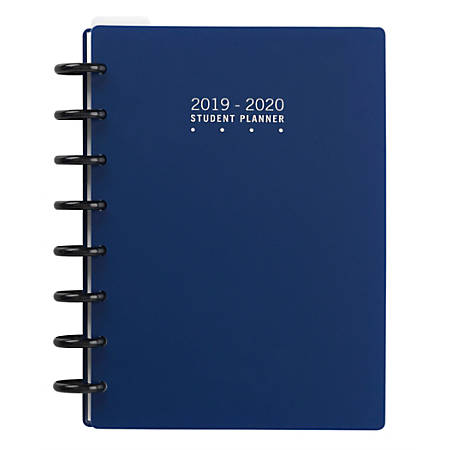 """TUL™ Custom Note-Taking System Discbound Weekly/Monthly Student Planner, 5-1/2"""" x 8-1/2"""", Navy, July 2019 To June 2020, TULSTDPLNR-AY19-NY"""