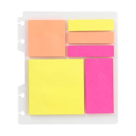 "TUL® Custom Note-Taking Discbound Sticky Note Pads, 3"" x 3"", 25 Sheets Per Pad, Assorted Colors, Pack of 6 Pads"