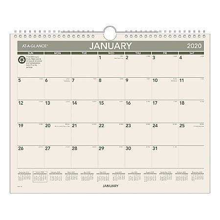 At A Glance Calendar.At A Glance Monthly Wall Calendar 15 X 12 100 Recycled Green Tan January To December 2020 Pmg7728 Item 9214657