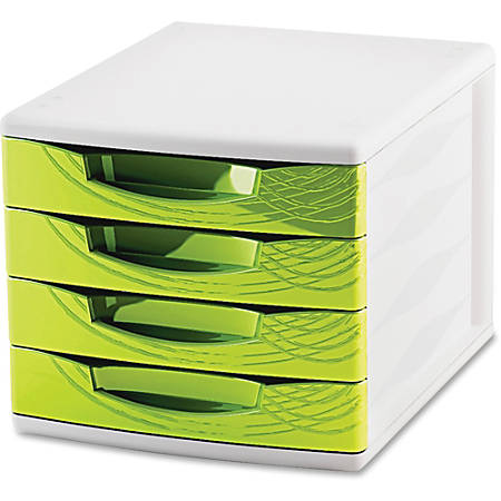 "CEP Origins Collection Desktop Sorting Module - 2000 x Sheet - 4 Drawer(s) - 10.4"" Height x 11.8"" Width x 14.5"" Depth - Desktop - White, Green - Polystyrene, Rubber - 1Each"