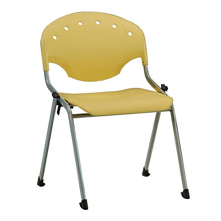 OFM Rico Stacking Chair, Without Arms, Yellow, Set Of 6