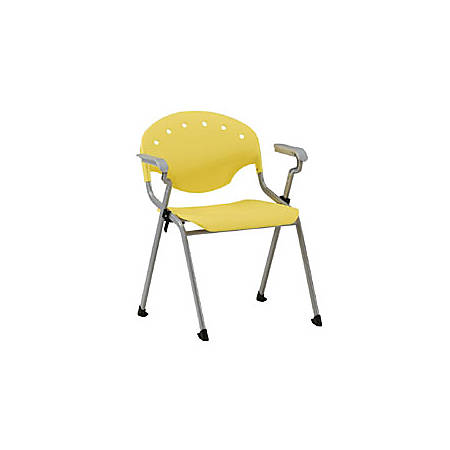 OFM Rico Stacking Chair, With Arms, Yellow, Set Of 6