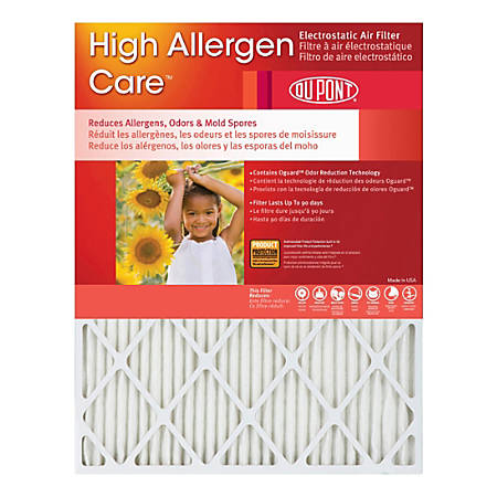 """DuPont High Allergen Care Electrostatic Air Filters, 25""""H x 20""""W x 1""""D, Pack Of 2 Filters"""