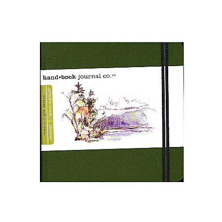 """Hand Book Journal Co. Travelogue Drawing Journals, Square, 5 1/2"""" x 5 1/2"""", 128 Pages, Cadmium Green, Pack Of 2"""