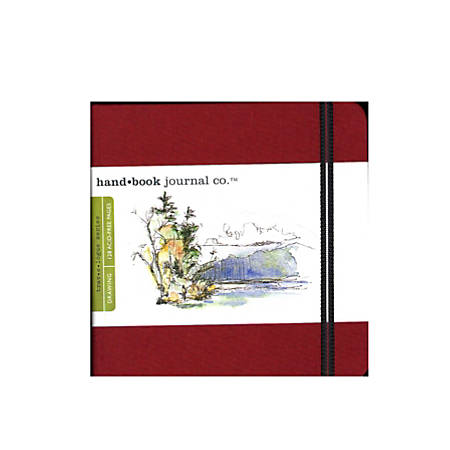 "Hand Book Journal Co. Travelogue Drawing Journals, Square, 5 1/2"" x 5 1/2"", 128 Pages, Vermilion Red, Pack Of 2"