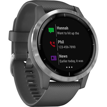 Garmin vivoactive 4 GPS Watch- Touchscreen - Bluetooth - Wireless LAN - GPS - 192 Hour - Round - 1.77 - Silver - Shadow Gray Case - Glass Lens, Stainless Steel Bezel - Fiber Reinforced Polymer, Polymer Case