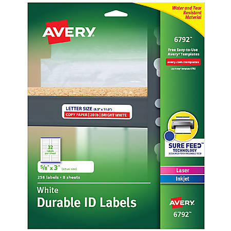 """Avery® Durable Permanent ID Labels, AVE6792, 5/8"""" x 3"""", White, Pack Of 256"""