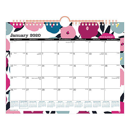 "AT-A-GLANCE® BADGE Floral Monthly Wall Calendar, 11"" x 8-1/2"", Multicolor, January To December 2020, W1282F-709"