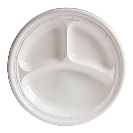 "Dart Impact Plastic Plate, 3-Compartment, 10-1/4"""